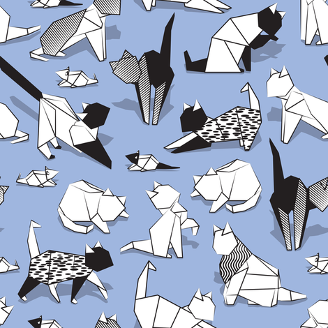 Origami kitten friends // blue lavander background paper cats fabric by selmacardoso on Spoonflower - custom fabric