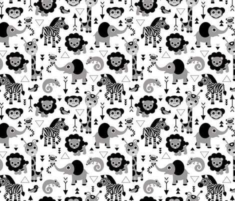 Geometric jungle zoo safari animals adorable kids design for boys black white gray fabric by littlesmilemakers on Spoonflower - custom fabric
