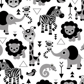 Geometric jungle zoo safari animals adorable kids design for boys black white gray