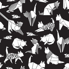 Origami kitten friends // black background white coloring paper cats