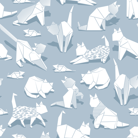 Origami kitten friends // pastel blue background white paper cats fabric by selmacardoso on Spoonflower - custom fabric