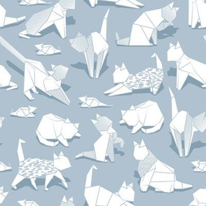 Origami kitten friends // pastel blue background white paper cats