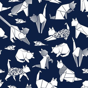 Origami kitten friends // oxford blue background white paper cats