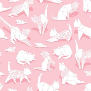 Origami kitten friends // pastel pink background white paper cats