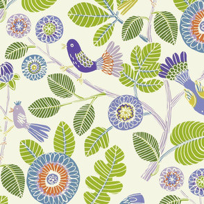 Summer birds (lime/purple/tourquoise)