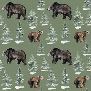 "4"" Camping Bears and Trees // Sage Olive"