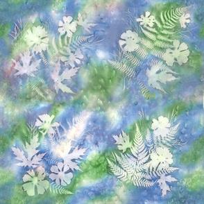 Blue Green Pink Maples Ferns Sunprint Squaresquares