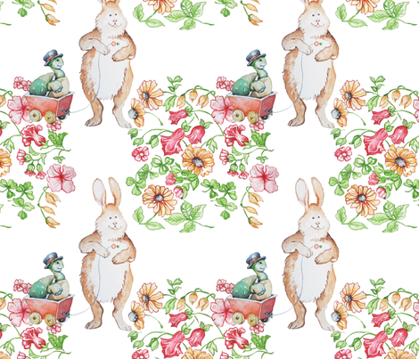 Sparrow Avenue_ Tortoise and the Hare_1a repeat_ 150 dpi .jpeg fabric by bharry on Spoonflower - custom fabric