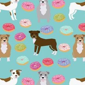 pitbull donuts mixed coats dog breed fabric  blue