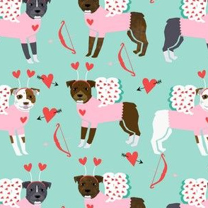 pitbull love bug cupid dog breed fabric pitbulls blue