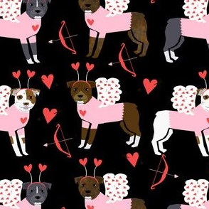pitbull love bug cupid dog breed fabric pitbulls black