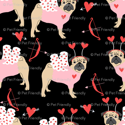 pug love bug cupid dog breed fabric black