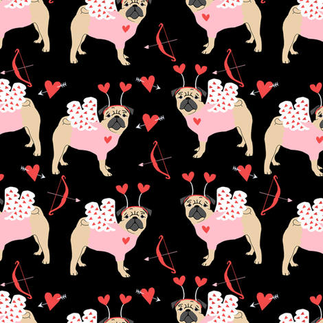 pug love bug cupid dog breed fabric black fabric by petfriendly on Spoonflower - custom fabric