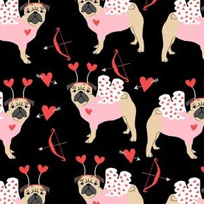 pug love bug cupid dog breed fabric black