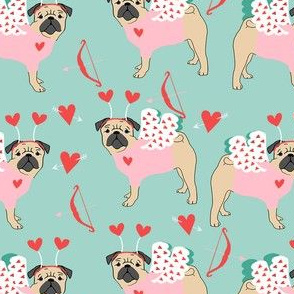 pug love bug cupid dog breed fabric mint