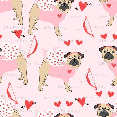 pug love bug cupid dog breed fabric pink