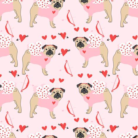 pug love bug cupid dog breed fabric pink fabric by petfriendly on Spoonflower - custom fabric
