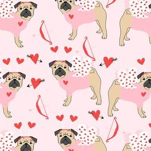 pug love bug cupid dog breed fabric pink