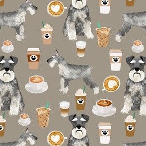schnauzer coffee dog breed fabric greige