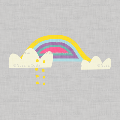 Rainbow and cloud unicorn grey