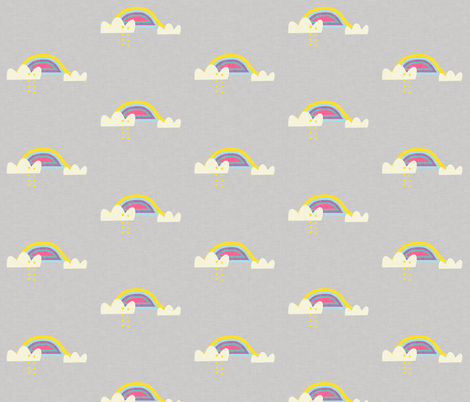 Rainbow and cloud unicorn grey fabric by bruxamagica on Spoonflower - custom fabric