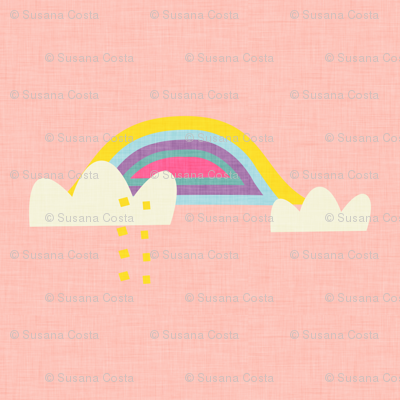Rainbow and cloud unicorn pink