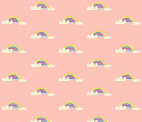 Rainbow and cloud unicorn pink fabric by bruxamagica on Spoonflower - custom fabric