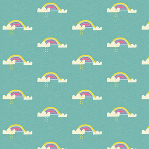 Rainbow and cloud unicorn teal