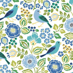 Blue Bird Floral on White