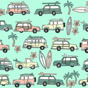 surf trip // vacation surfing road trip california tropical fabric mint