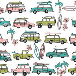 surf trip // vacation surfing road trip california tropical fabric white peach