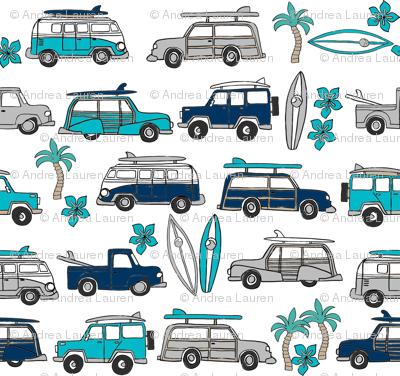 surf trip // vacation surfing road trip california tropical fabric white blues