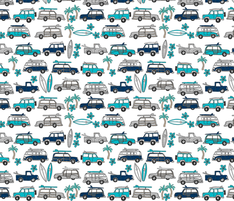 surf trip // vacation surfing road trip california tropical fabric white blues fabric by andrea_lauren on Spoonflower - custom fabric