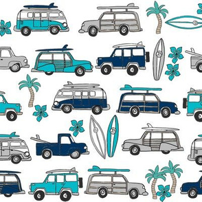 surf trip // vacation surfing road trip california tropical fabric white blues