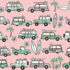 surf trip // vacation surfing road trip california tropical fabric pink