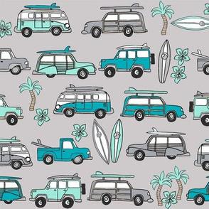 surf trip // vacation surfing road trip california tropical fabric grey