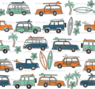 surf trip // vacation surfing road trip california tropical fabric blue