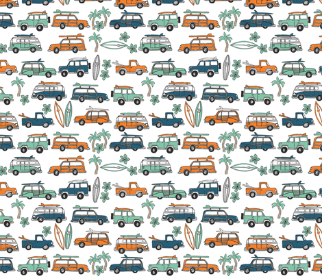 surf trip // vacation surfing road trip california tropical fabric blue fabric by andrea_lauren on Spoonflower - custom fabric