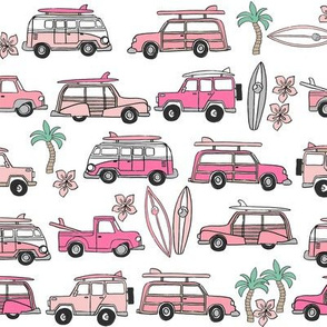 surf trip // vacation surfing road trip california tropical fabric white pink