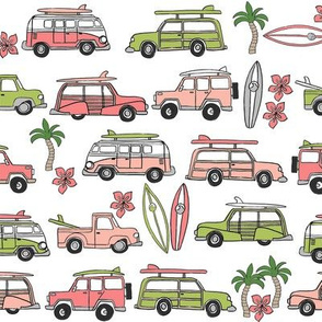surf trip // vacation surfing road trip california tropical fabric white green