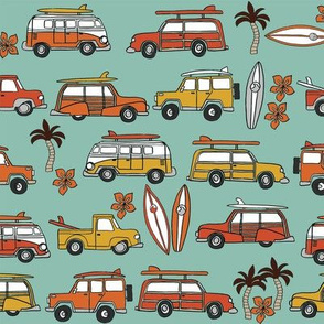 surf trip // vacation surfing road trip california tropical fabric medium green