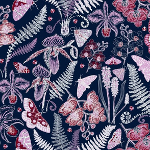 Orchid Botanical Study #021318 (navy)