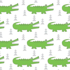green gator-with-grey-trees