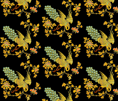trees leaves leaf vines flowers floral peacocks birds embroidery gold gilt chinese china oriental japanese kimono fabric by raveneve on Spoonflower - custom fabric