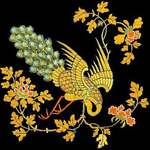 trees leaves leaf vines flowers floral peacocks birds embroidery gold gilt chinese china oriental japanese kimono