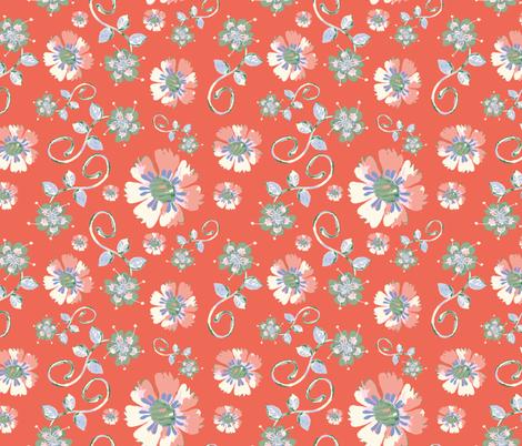 deep-coral-watercolor-flowers-sf fabric by margiecampbellsamuels on Spoonflower - custom fabric