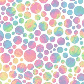 crazy rainbow dots - pastel on white