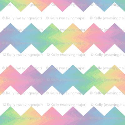 white and pastel rainbow chevron