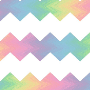 white and pastel rainbow chevron