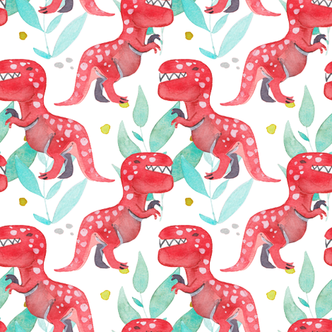 Angry T-Rex fabric by petite_salade_designs on Spoonflower - custom fabric